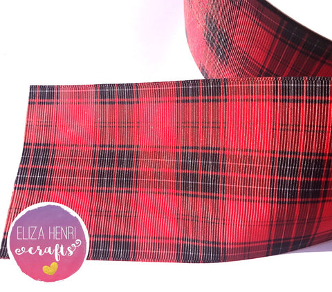 Red Black Tartan Grosgrain Ribbon 2'' or 3''