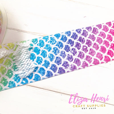 Rainbow Mermaid Sequin Reversible Ribbon 3''