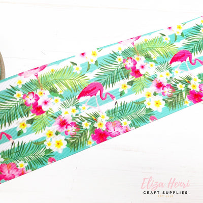 Tropical Flamingo Grosgrain Ribbon 2'' or 3''