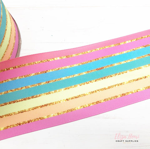 Rainbow Gold Stripes Grosgrain Ribbon 2'' or 3''