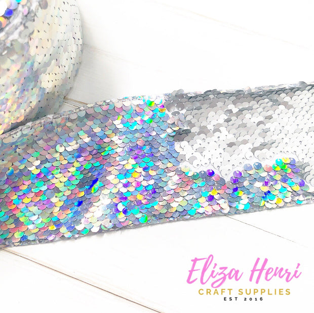 Silver Rainbow iridescent Sequin Reversible Ribbon 3''