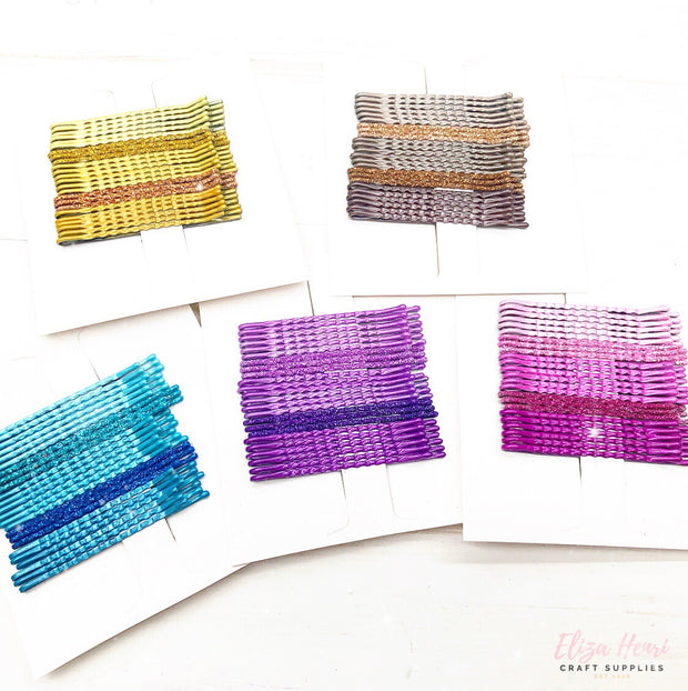 Sparkly Coloured Kirby Grips/Bobby Pins 24 pack