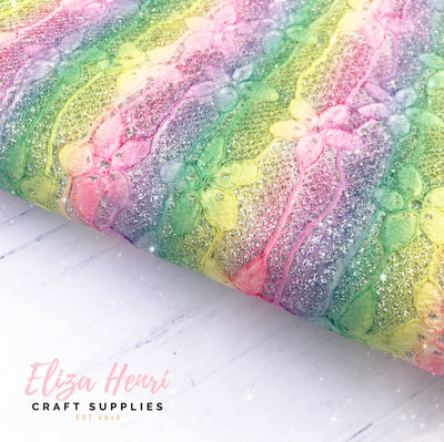 Fairy Rainbow Glitter Lace Fabric