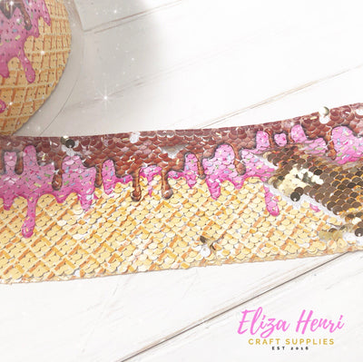 Ice Cream Sequin Reversible Ribbon 3''