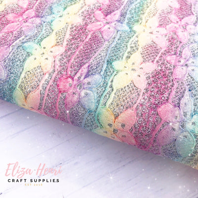 Pastel Rainbow Glitter Lace Fabric