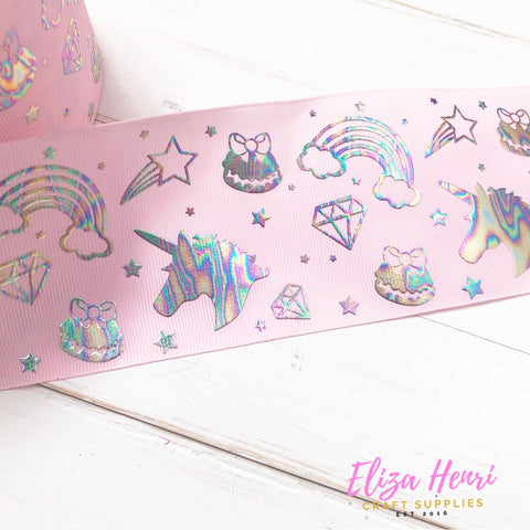 Baby Pink Holographic unicorns & rainbows Foil Grosgrain Ribbon 3''