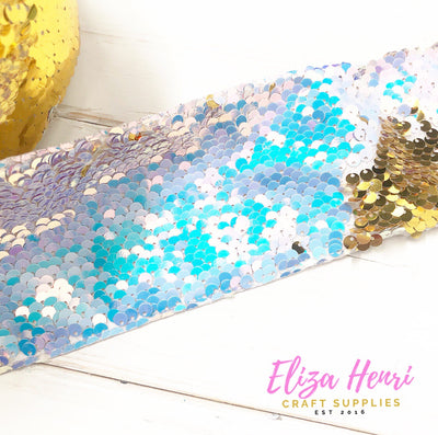 White iridescent with gold Sequin Reversible Ribbon 3''