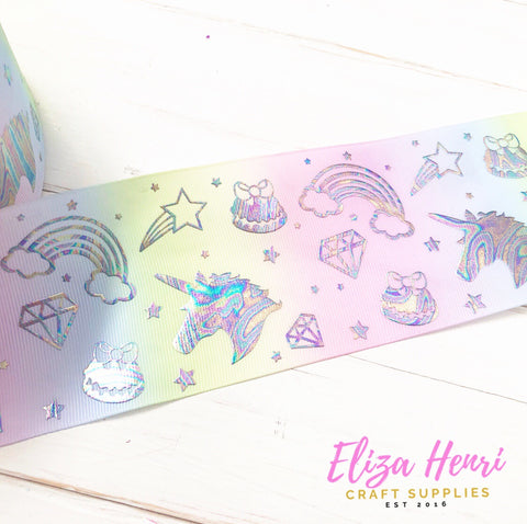 Pastel Holographic unicorns & rainbows Foil Grosgrain Ribbon 3''