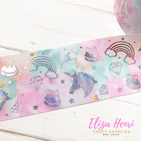 Mint Marble Holographic unicorns & rainbows Foil Grosgrain Ribbon 3''