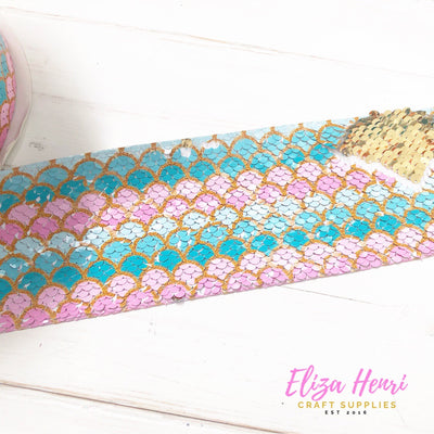 Mermaid Mint Pink Sequin Reversible Ribbon 3''