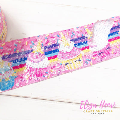 Unicorn Cupcakes Sequin Reversible Ribbon 3''