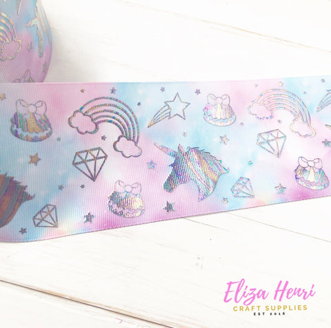 Blue & Pink Marble Holographic unicorns & rainbows Foil Grosgrain Ribbon 3''