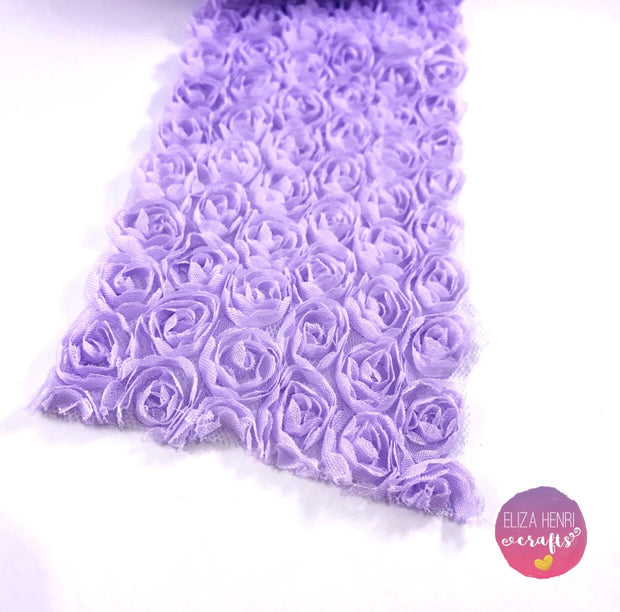 Lilac Rose Flower Lace Fabric