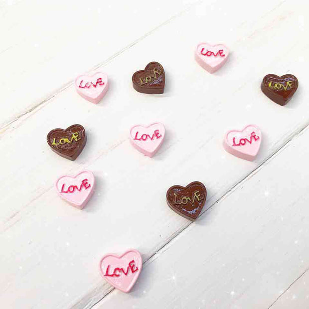 Love Heart Candy Flat back Charm Embellishments