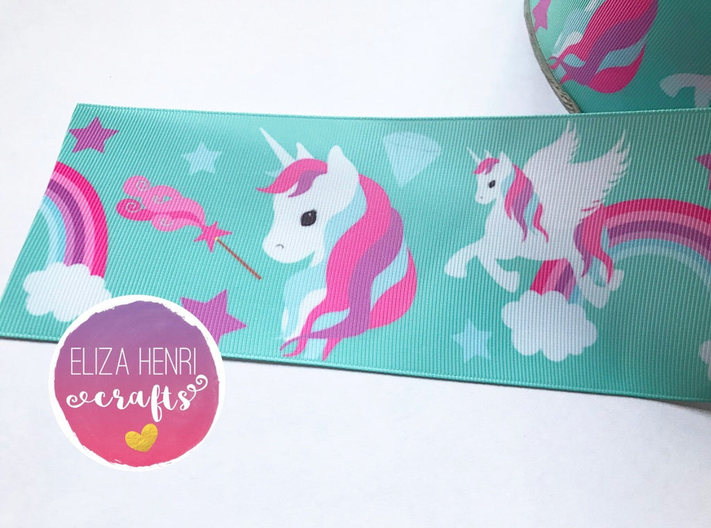 Mint Green Rainbow Pink Unicorn Grosgrain Ribbon 3''
