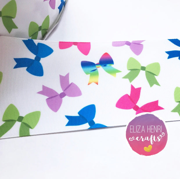 Multi Coloured Bows on White Grosgrain Ribbon 2'' or 3''