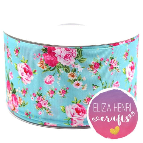 Pale Blue Floral Grosgrain Ribbon 2'' and 3''