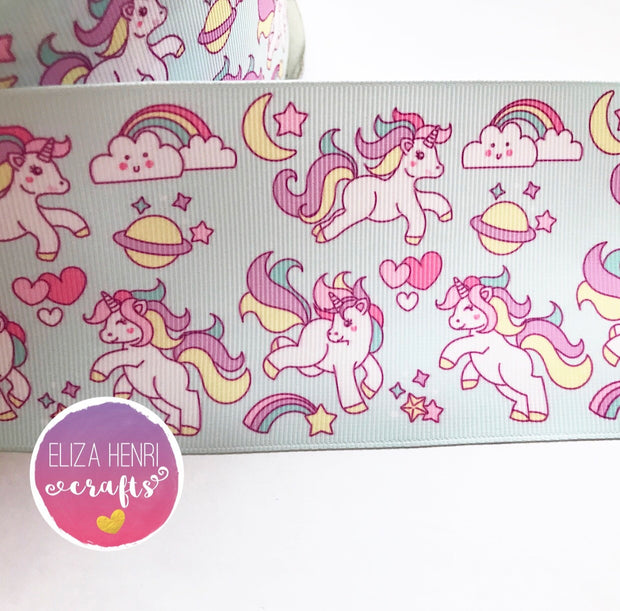 Pale Mint Unicorns Grosgrain Ribbon 2'' or 3'' - Eliza Henri Craft Supply