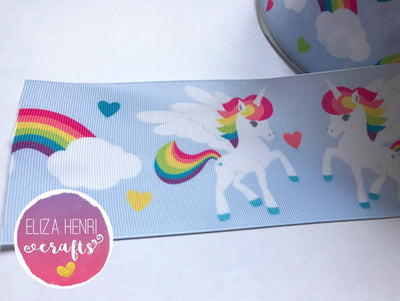Pale Blue Rainbow Unicorn Grosgrain Ribbon 2'' or 3'' - Eliza Henri Craft Supply