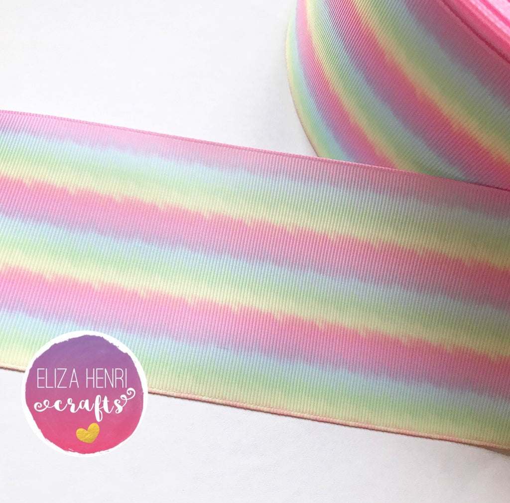 Pale Pastel Ombre Stripes Grosgrain Ribbon 2'' or 3''
