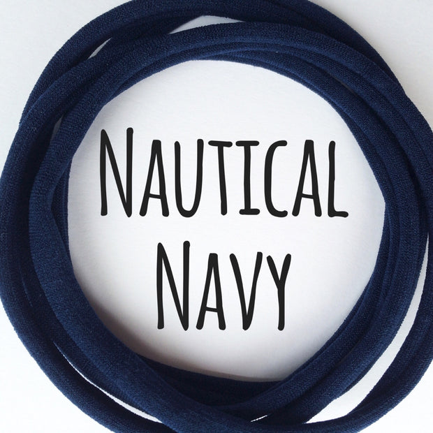 Skinny Nylon Headbands- Dainties- Nautical Navy