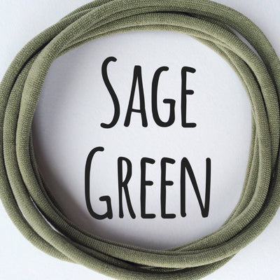Skinny Nylon Headbands- Dainties- Sage Green