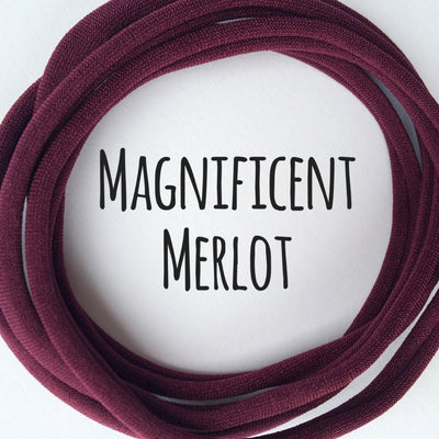 Skinny Nylon Headbands- Dainties- Magnificent Merlot