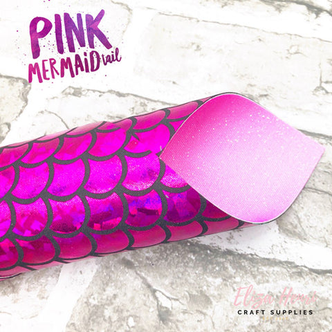 Pink Mermaid Tail Double Sided Fine Glitter Fabric