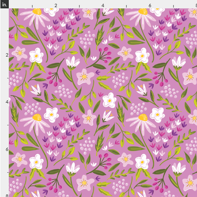 Purple Summer Floral Artisan Fabric Felt