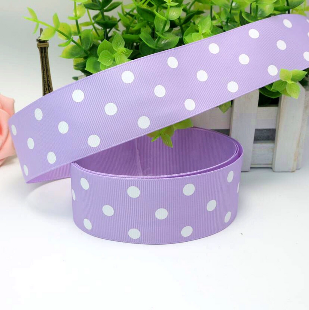 Bright Purple Grosgrain Ribbon with white polka Dots 1.5""