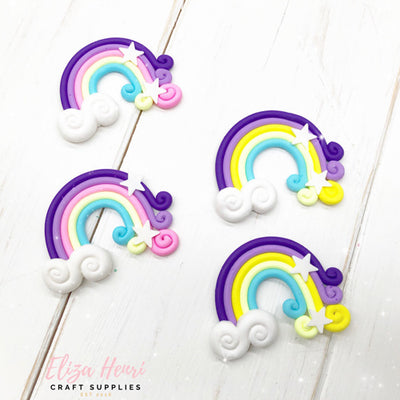 Rainbow Clay Cloud Embellishments