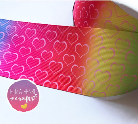 Rainbow Ombre Hearts Grosgrain Ribbon 2'' or 3''