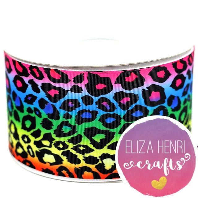 Rainbow leopard Grosgrain Ribbon 3''