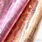 patterned rose holographic leatherette fabric sheets