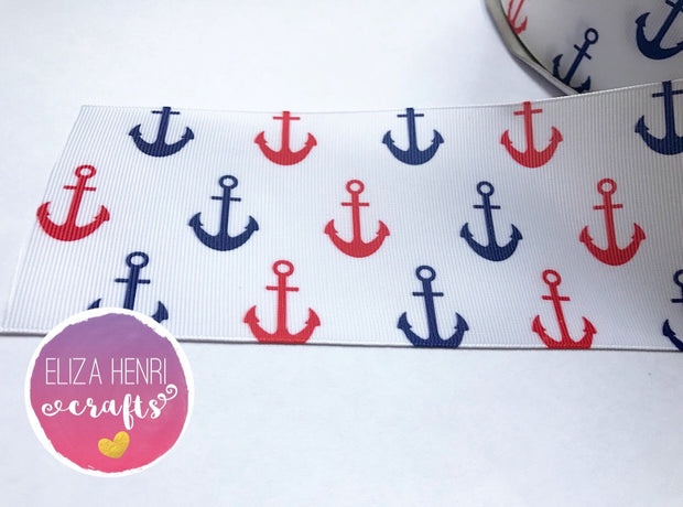 Sailor Anchors White Grosgrain Ribbon 2'' or 3'' - Eliza Henri Craft Supply