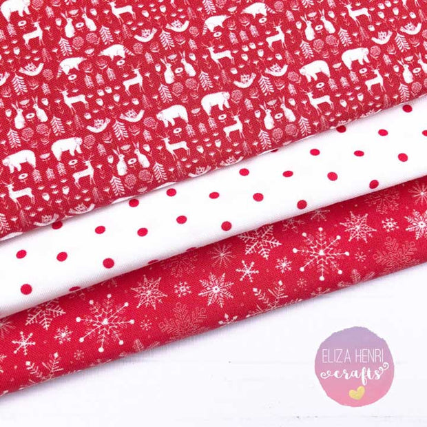Red Xmas Holiday Artisan Fabric Felt Collection