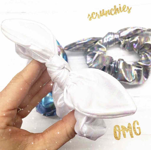 metallic top knot unicorn scrunchies
