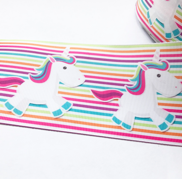 Unicorn Multi coloured Stripes Grosgrain Ribbon 3'' - Eliza Henri Craft Supply