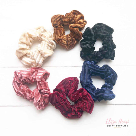 Velvet Striped Scrunchies Hair Accessories
