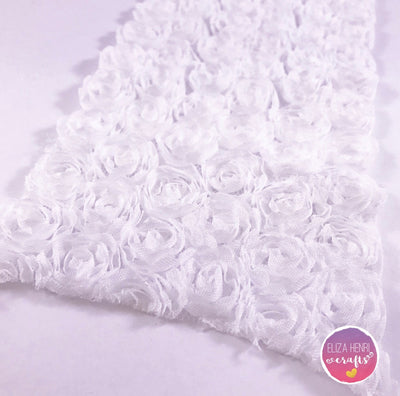 White Rose Flower Lace Fabric - Eliza Henri Craft Supply