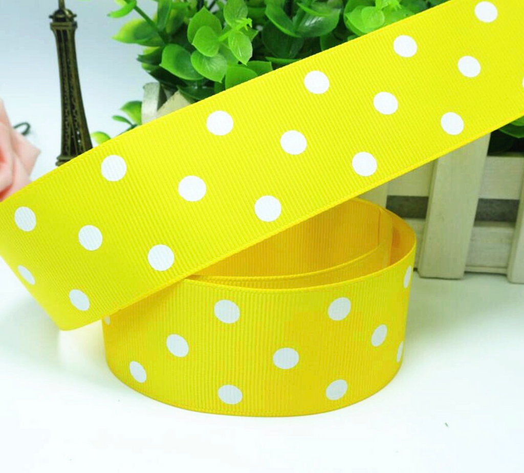 Bright Yellow Grosgrain Ribbon with white polka Dots 1.5""