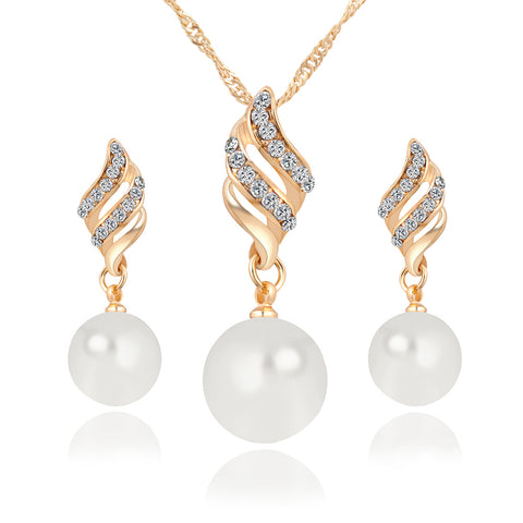 Simulated Pearl Necklace and Earring Sets