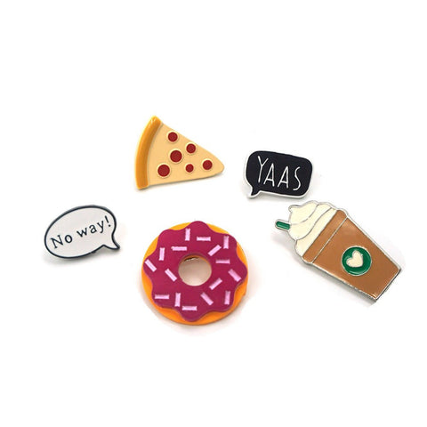 Cute and funny pin set pizza starbucks and donut