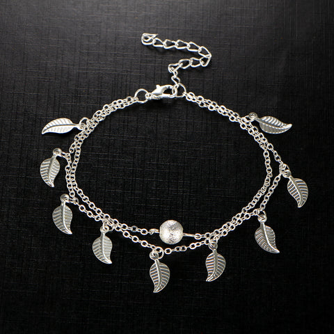 Double, Leaves and bead Anklet, Foot Chain Bohemian Handmade Beads Anklets Foot  Jewelry