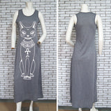 Cat Print Long Maxi Dress