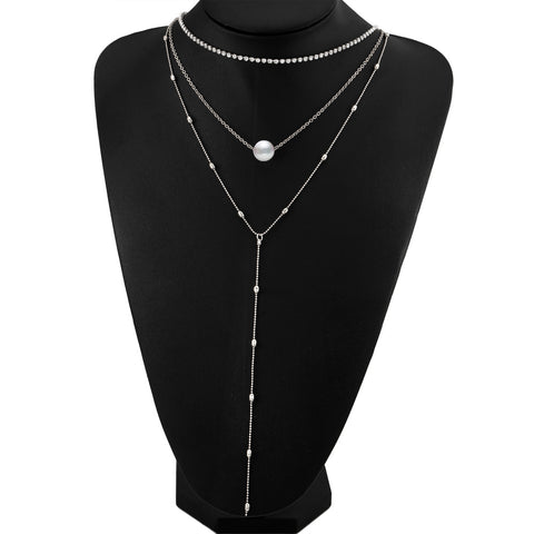 Crystal Multi Layer Long Choker, Vintage Collier Beads