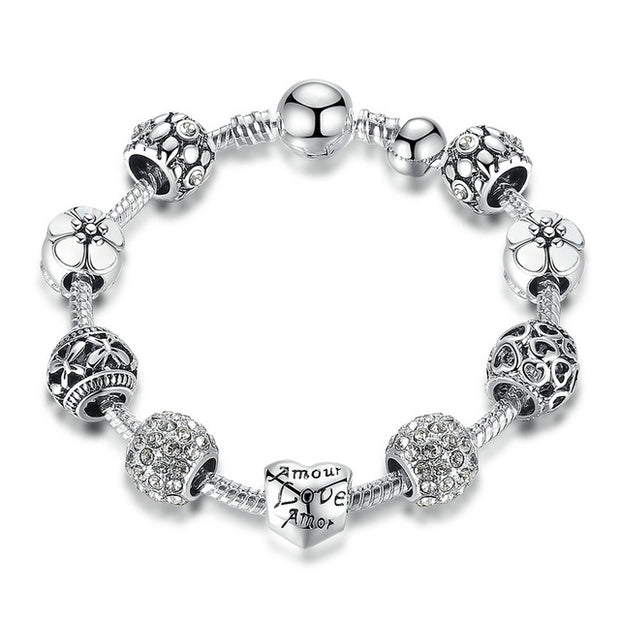 Antique Silver Charm Bracelet & Bangle with Love