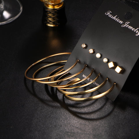 9 Pair/set Vintage Gold Colour Big Circle Hoop Earrings