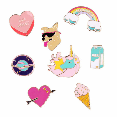 Pink and cute enamel pins