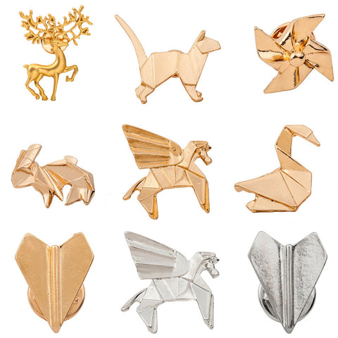 Origami gold and silver enamel pins